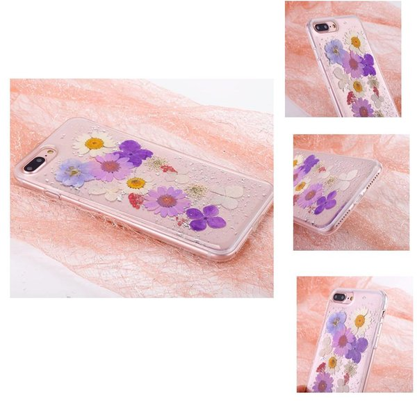 Real Dried Flower Soft Rubber TPU Back Cover Pressed Floral Gold Foil Embedded Bling Glitter Flexible Case For iPhone XS X 7 6 Plus OPP Bag