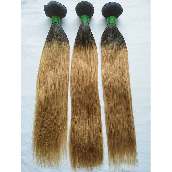 T1B/27 Honey Blonde 3 Bundles Ombre Colored Brazilian Hair Weave Wefts Straight Human Hair Weaves Non Remy Colored Hair Extensions