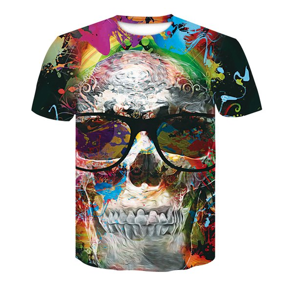 Summer casual men's T-shirt 3d creative printing devil skulls short-sleeved men's T-shirt large size loose hip-hop tops