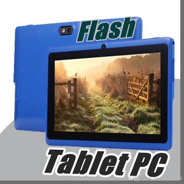 """best selling 10X Allwinner A33 Quad Core Q88 Q8 Tablet PC Dual Camera 7"""" 7Inch capacitive screen Android 4.4 512MB 8GB Wifi Google play store flash C-7PB"""