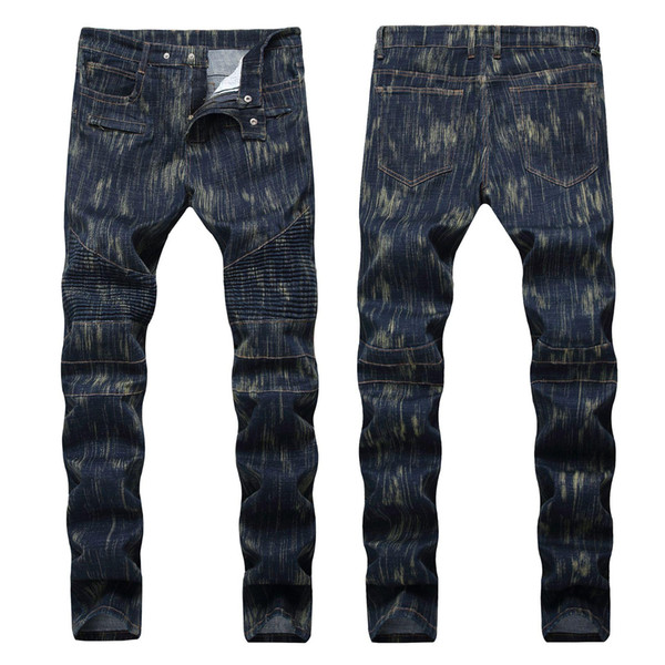 Wholesale-new Men luxury Knee folds Waxed Water Locomotive black jeans free shipping Mens trousers