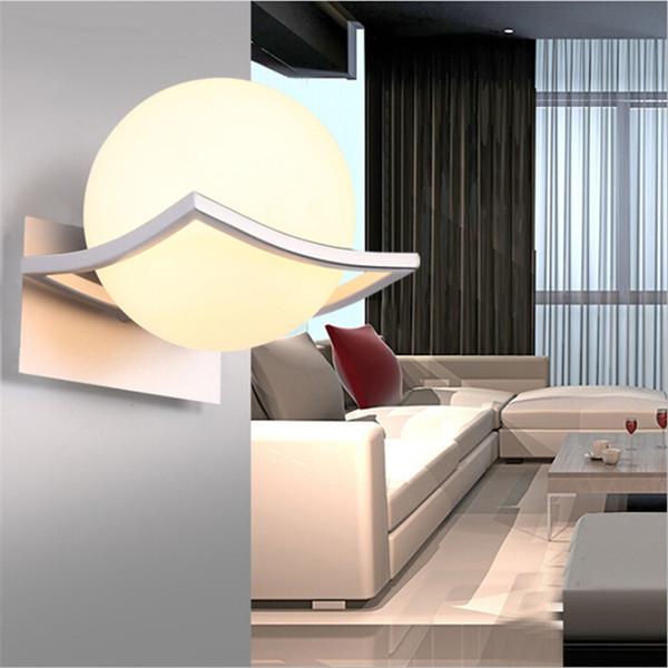 Einzigartige und Neuheit LED-Wandleuchte Milky Glaskugel Wandleuchten für Durchgang Korridor Schlafzimmer Nachttischlampe AC85-265V