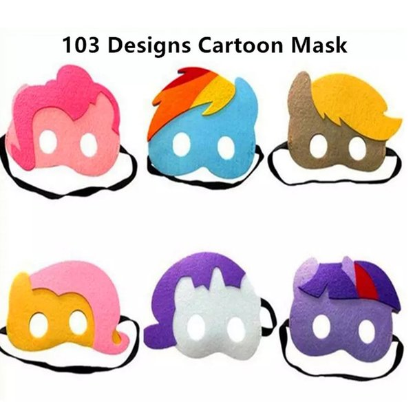 Halloween Cosplay Maschere 103 Disegni 2 Strati Cartoon Felt Mask Costume Party Masquerade Eye Mask per bambini Bambini Regalo di compleanno di Natale