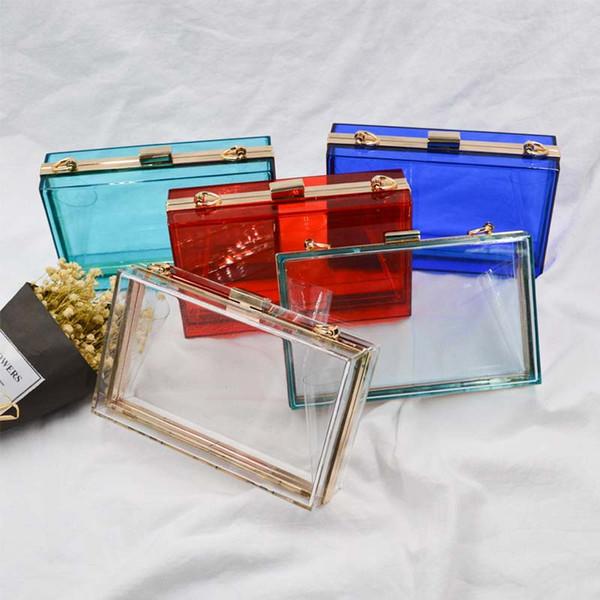 Acryl Transparent Clutch Chain Box Frauen Umhängetaschen Harte Tageskupplungen Taschen Hochzeit Abend Geldbörse 5 Farben
