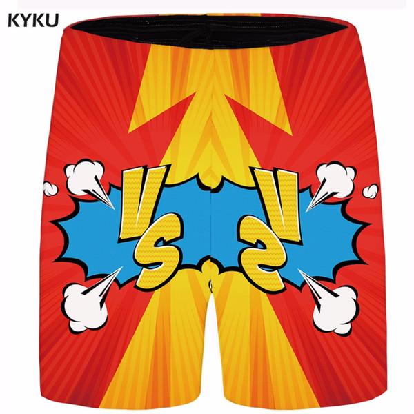 KYKU Марка мультфильм короткие мужчины облако грузовые шорты войны Красный случайные шорты пляж мужские короткие 2018 новый летний мужской моды плюс размер