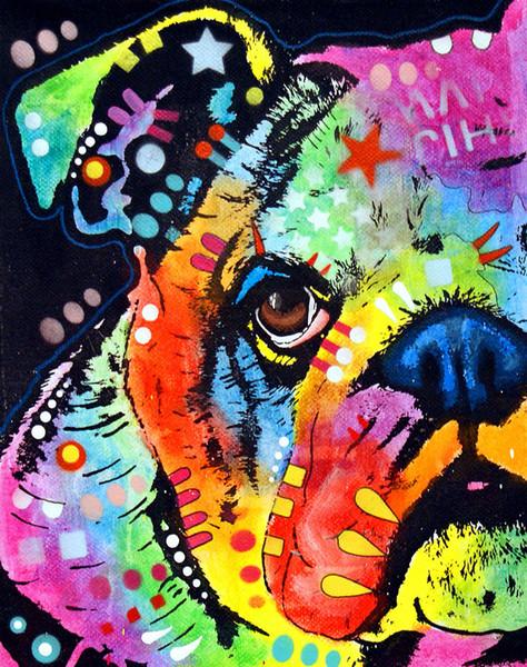 YJ ART peeking-bulldog Oeuvre Art de mur en toile moderne sans cadre pour la décoration de maison et de bureau, peinture à l'huile, peinture animalière, peinture sur cadre