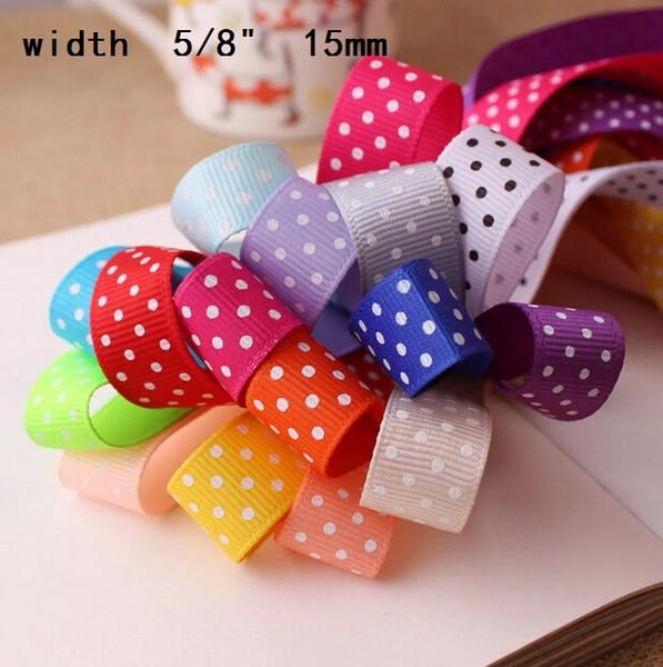 "best selling 5 8"" 3 8"" 7 8"" multicolored solid polka dot cartoon dot grosgrain ribbon hair accessories diy bowparty decoration 60yard"