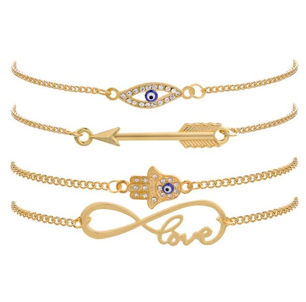 New Crystal Palm Eye Arrow Bracelets For Women Fashion Love Word Bracelet Jewelry Party Gifts 4 Pcs/Set Gold color