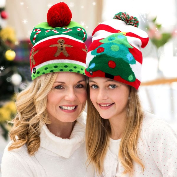 OurWarm Led Christmas Hat Kids 4 Style Knit New Year Hat Cap Led Light Up Beanie Merry Christmas New Year's products