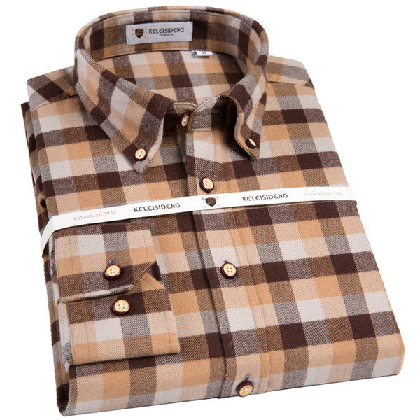 Men's Long SLeeve Brushed Medium Plaid Dress Shirts Warm and Comfortable Casual Slim-fit Button Down Collar Buffalo Check Shirt