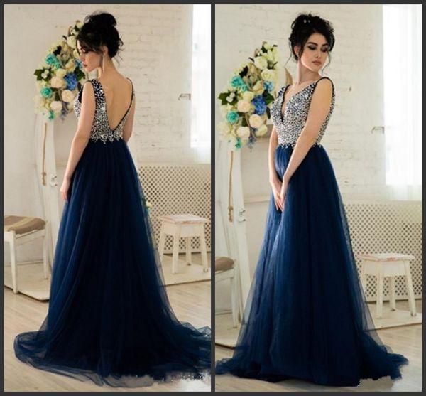 Compre 2018 Nueva Con Cuentas Sexy Con Cuello En V Vestidos De Noche Largos Azul Marino Prom Vestidos Longitud Del Piso Vestidos De Fiesta Formales