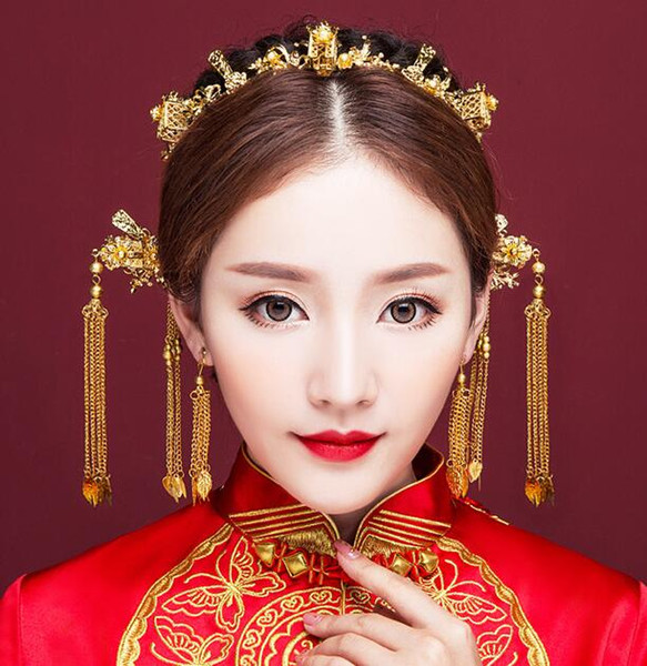 Golden new costume tassel phoenix Chinese bride tiara suit toast clothing show Wo clothing dragon and phoenix accessories
