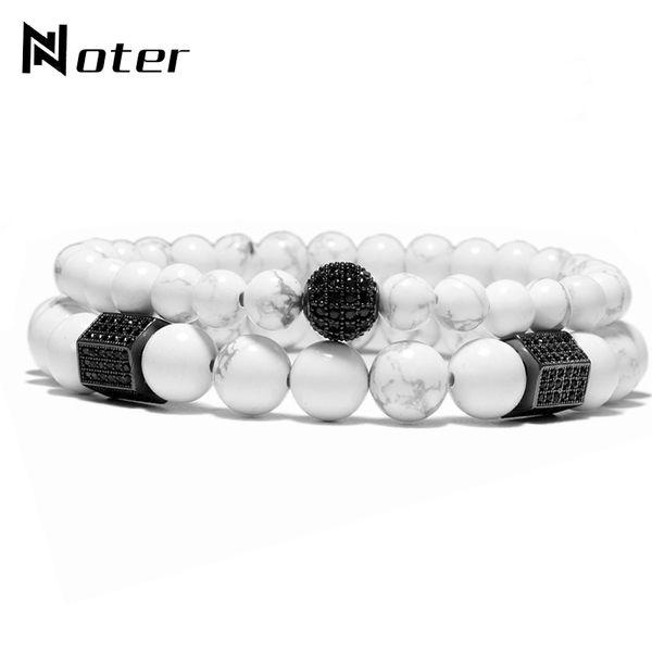 White Natural Stone Shambhala Zirconia Braclets 2 pcs Couple Distance Beads Bracelet For Girl Boy Lovers Gift Jewelry