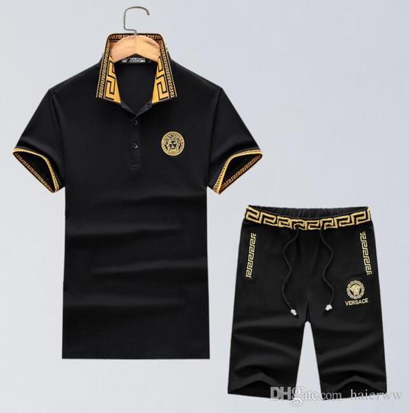 marca Moda de alta calidad logotipo de lujo para hombre diseñador de camisetas de primavera y verano, solapa, camiseta de manga corta, ropa casual chaqueta + pantalones cortos