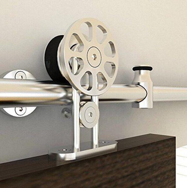 Kinmade MM-10F Acero inoxidable Deslizamiento de maderaPuerta-Hardware Interior moderno Deslizante Granero Puerta de madera Hardware Juego de rieles