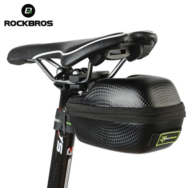 ROCKBROS Bicycle Rear Saddle Bag PU Leather Carbon Fiber Waterproof MTB Road Bike Seatpost Riding Accessories Portable Bike Bags