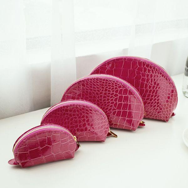 Alta qualidade colorido 4 tamanho 1 set moda saco de cosméticos de luxo Jacaré Padrão Make Up Bag Casual Lady Organizador