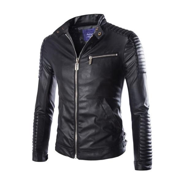 Autumn Winter Luxury Pu Leather Jacket for Men Long Sleeve Motorcycle Jacket Male Stylish Slim Fit Jacket Black White Veste Cuir Homme M-2XL