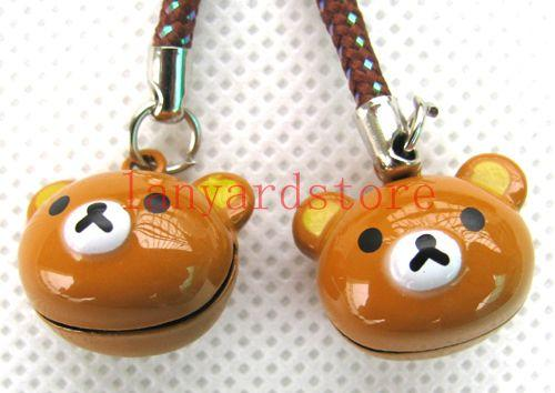 The image of the cute little bear Cell Phone Charm colour Strap Keychains Mixed Small Bell Charm 20pcs