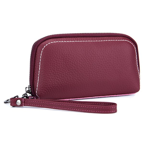 New Fashion Genuine Leather Women's Handbags Shell Multi-layer Solid Zipper Ladies' Bag Female Hand Bag Casual Cell Phone Pocket