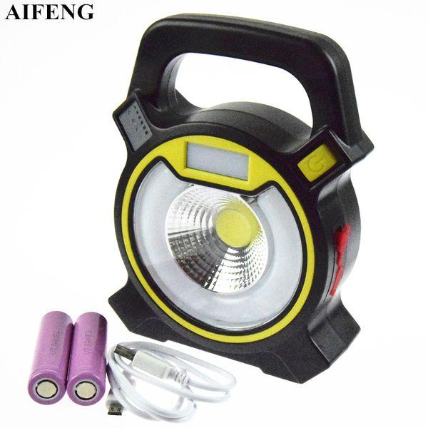 AIFENG 30 W COB Taşınabilir Spot 2400LM Fener Projektör + 2x18650 Pil USB Şarj Edilebilir 4 Modu Kamp Taşınabilir Spot