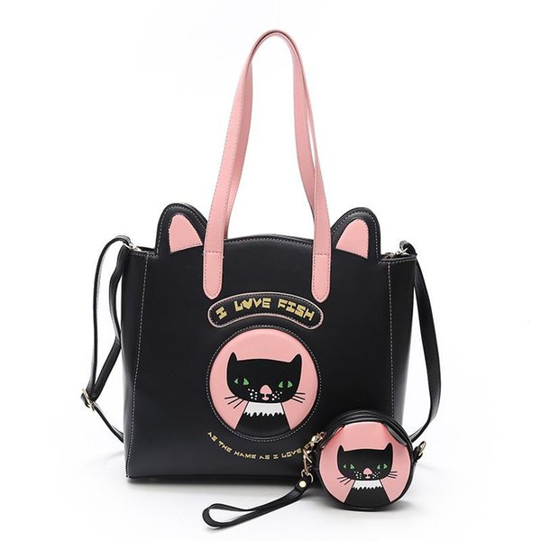 6ee146ea7 Handbags Women Two Sets Bags PU Leather New Cat Bags Printing Kitten Female  Shoulder Bag Messenger