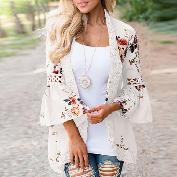 Frauen Floral Printed Kimono Cardigan Flare Ärmel Chiffon Spitzenbesatz lose Kimono Open Front Outwear Tops WS8711t