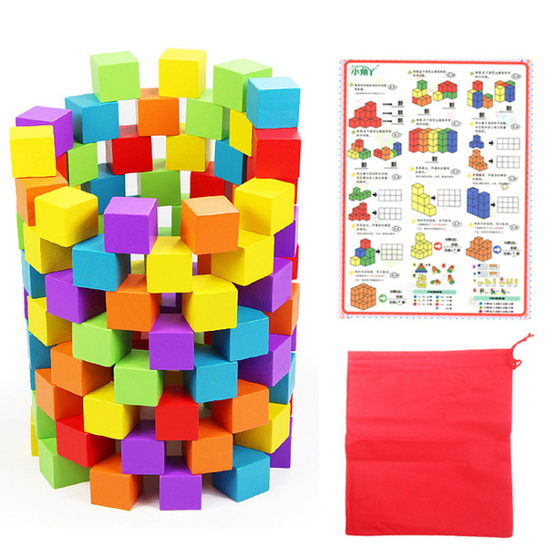100pcs Mix Colored Wood Geometric Blocks Beads Cube Wooden Bead 2.5cm Square Educational Toys for Kids Free Shipping JM1509