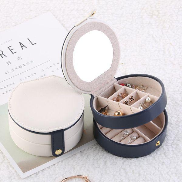 Cas de boîte d'organisateur de maquillage de double couche de femmes de boucles d'oreille rondes de bijoux avec le miroir