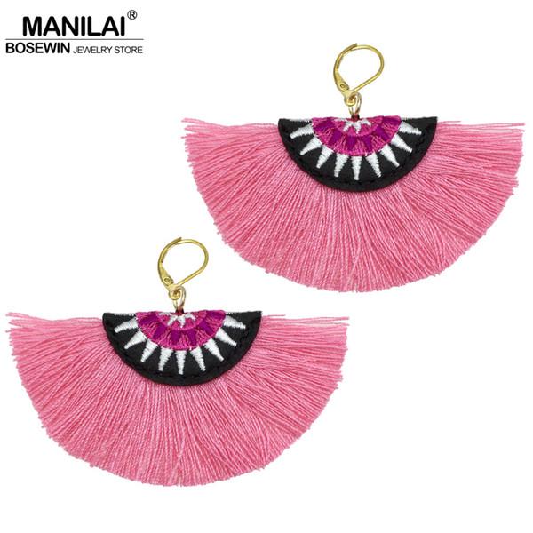 fringe MANILAI Bohemian Embroidery Fringe For Women Handmade Cotton Tassel Big Dangle Drop Earrings Ethnic Statement Jewelry