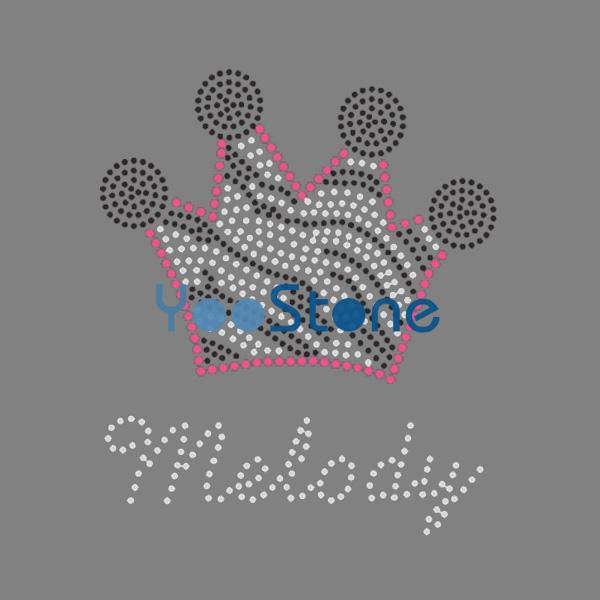 Melody Zebra Crown Rhinestone Iron On Transfer Hot Fix Motif
