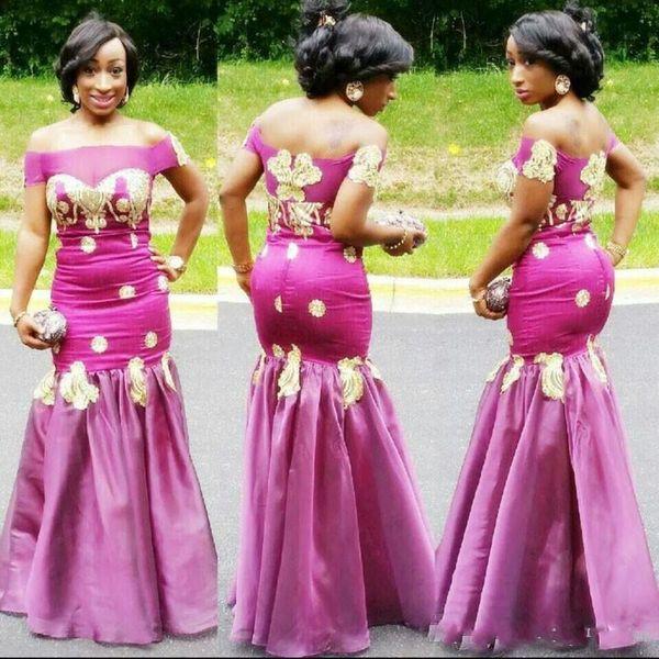 Elegant Fushia Mermaid African Evening Dresses Sexy Gold Appliques sheer Neck Sati Zipper Back Floor Length Women Formal Prom Wear
