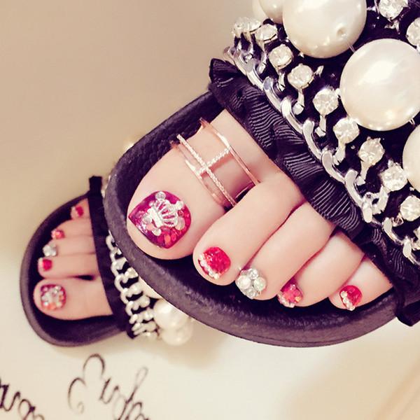 Оптовая маникюр закончил журнал японский красный ноготь блесток накладные ногти 24 J46 фототерапия акриловые toe французский ногтей советы