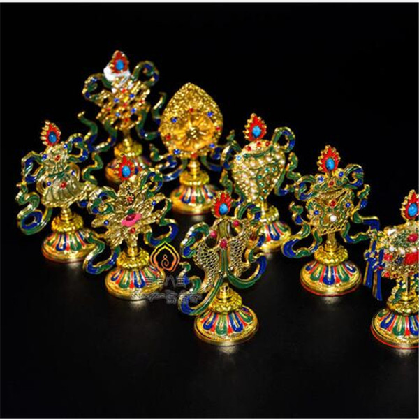 Gorgeous Colorful Carving Eight Mascots High Grade Tibetan Tantric Buddhist Ritual Instruments Alloy Painted Decorative Craft