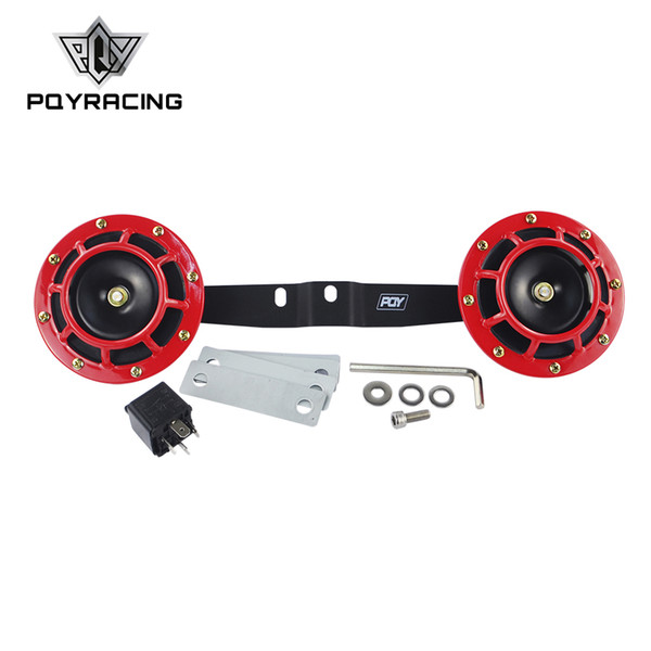 PQY - 2pcs 12v 115DB Hella Super Loud Compact Electric Blast Tone Air Horn Kit with bracket For Motorcycle and Car LB31+DHB01