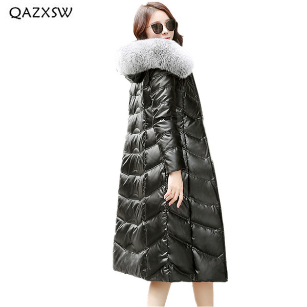 QAZXSW Genuine Leather Jacket for Women Clothes 2018 Winter New Sheep Skin Large Size Coat Fashion Real Fur Collar Coats LA048