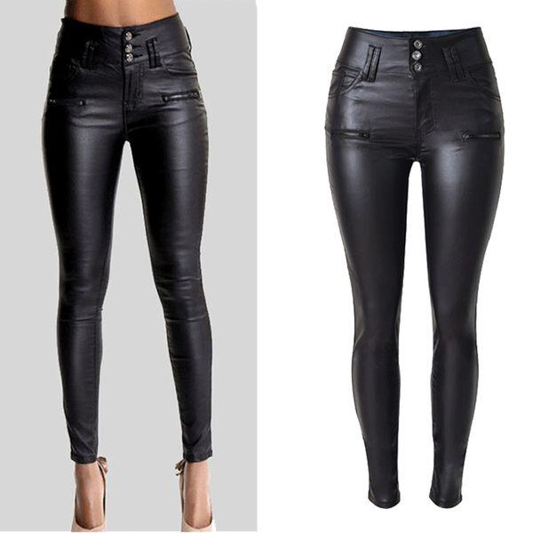 Frauen Sexy Kunstleder Stretch Skinny Hose Lady Schwarz Hohe Taille Slim Jeans Hosen