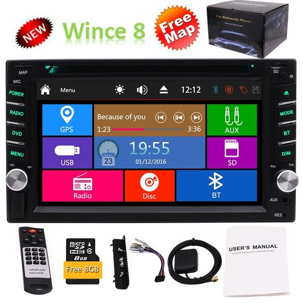 EinCar 6.2'' Double 2Din Car DVD Player Stereo FM AM Radio GPS Navigator SWC USD TFT Colored Remote Control 8GB Map Card