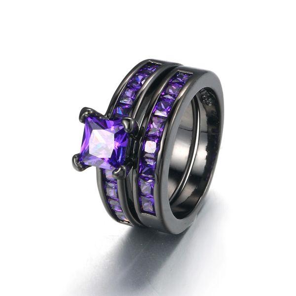 Women 2 PCS Purple Amethyst Cubic Zirconia CZ Black Gold Plated Vintage Ring Engagement Wedding Band Set