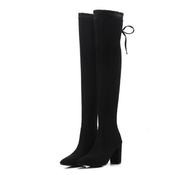 knee high boots flock square chunky high heels ladies chaussure women gladiator lace up shoes woman zapatos mujer sapato JB0043