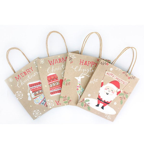 Christmas Gift Wrap Christmas Tree Letter Printed Gift Wrap High Quality Craft Paper Bag for Christmas Candy