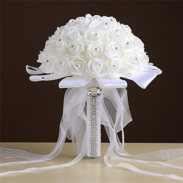 Pure Love Rose Artificial Bridal Flowers Bride Bouquets Wedding Bouquet Crystal Ivory Silk Ribbon New Buque De Noiva Cheap CPA1548