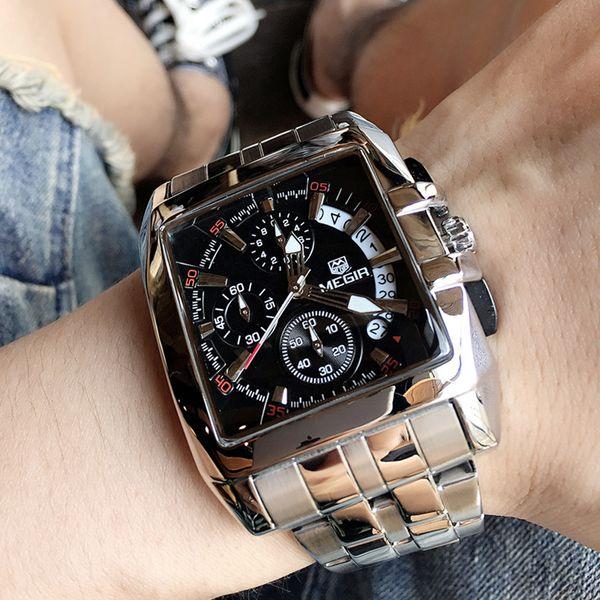 MEGIR Men's Big Dial Luxury Top Brand Quartz Wristwatches Creative Business Stainless Steel Sports Watches Men Relogio Masculino Y1892111