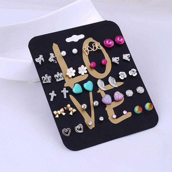 20 Pairs Assorted Women Stud Earring Set Bird Cross Flower Dangle Heart Earrings Set For Women Jewelry Gifts Support FBA Drop Shipping H303R