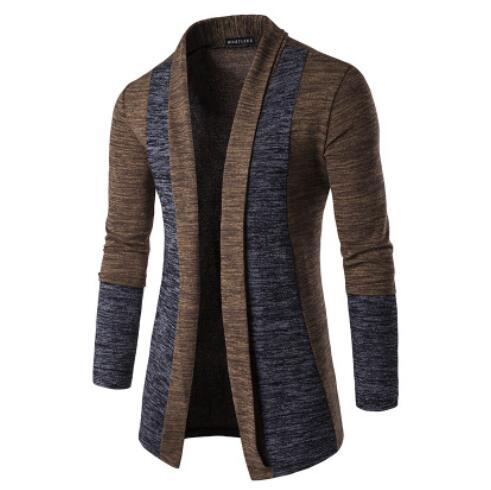Men's Sweater Cardigans V Neck Fashion Cotton Slim Sweatershirt Long Warm Striped Cardigans Autumn Thicken Coat for Male XN