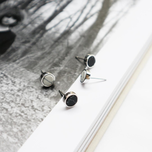 2018 New Real high S925 pure silver fashion contracted white stone marble geometry square Real Silver earrings