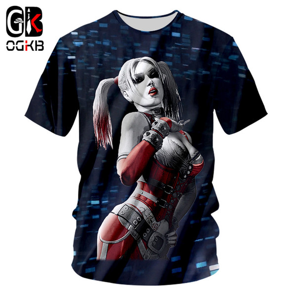 OGKB Summer Tops Funny Print Suicide Squad Harley 3D T-shirts For Men/women Hiphop Streetwear O Neck Short Sleeve Tee Shirts