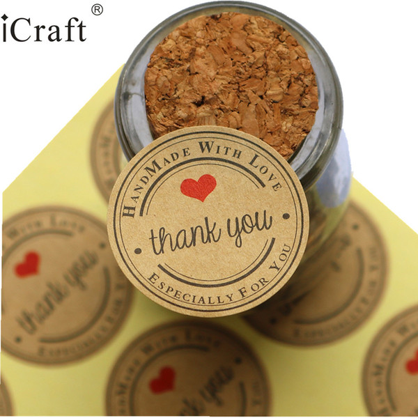 Event Party Party Holiday DIY Decorations 1200pcs Thank you red heart hand made with love Kraft Seal Sticker Gift Label Sticker For