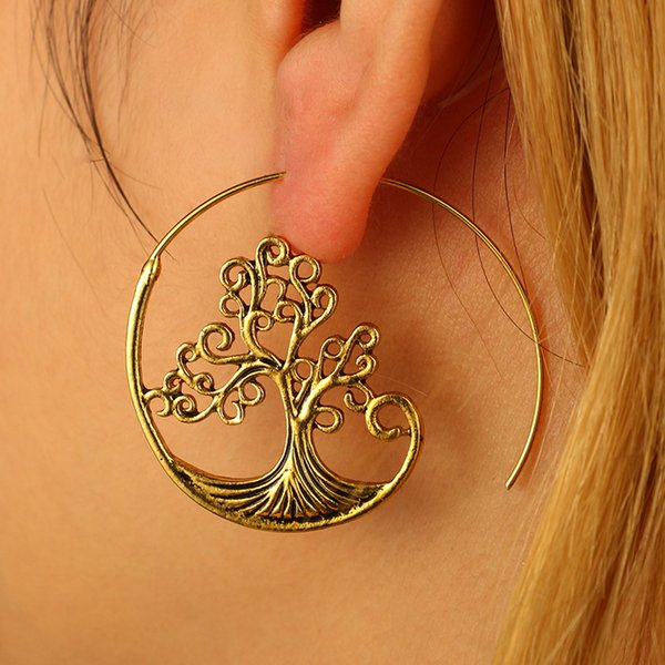 Trendy Vintage Gold Round Spiral Earrings Punk Exaggerated Big Circle Punk Tree Leaf Whirl Pool Gear Bohemian Earrings