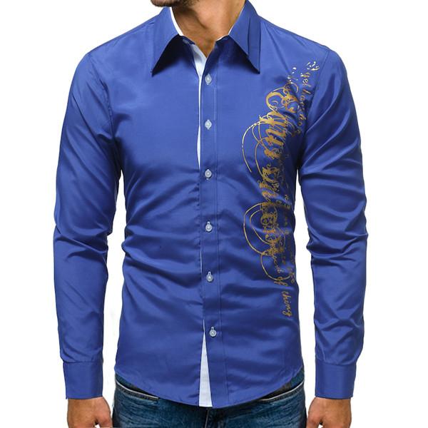 ce6c62bd09c Brand 2018 Fashion Male Shirt Long-Sleeves Tops Letter Print Mens Dress Shirts  Slim Men
